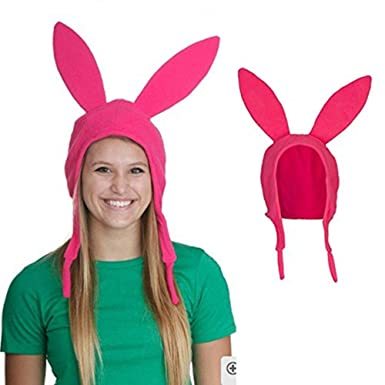 068b4baee82 NeuFashion Pink Bunny Ears Hat Bob s Burgers Louise Cosplay Hat Halloween  Mom Kids Cute Rabbit Ears