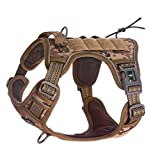 FIVEWOODY Tactical Service Dog Harness Training No Pulling Front Clip Leash Attachment Reflective K9 Working Dog Vest Easy Control for Small Medium Large Dogs,Service Dog Harness, Desert Camo-L