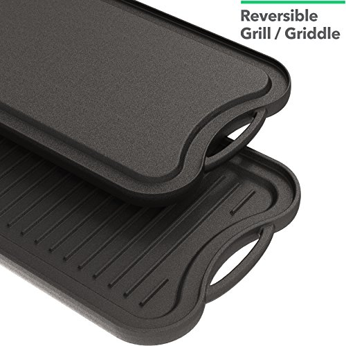 Vremi 20 inch Cast Iron Griddle for Kitchen Stove Top - Large Nonstick Two Burner Flat Universal Pancake Grill Griddle Pan Pre-seasoned Reversible Portable for Indoor Oven Gas Stovetop or Outdoor BBQ by Vremi (Image #3)