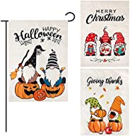 """Auidy_6TXD Gnomes Garden Flag Set of 3 Pack- 12""""x 18""""for Double-Sided, Holiday Party Yard Outdoor De"""