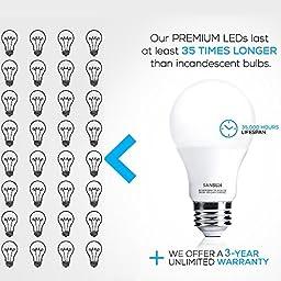 A19 LED Light Bulbs 60 Watt Equivalent, SANSUN 3000K (Soft White), E26 Socket, UL-Listed LED Globe Bulbs - (Pack of 6)