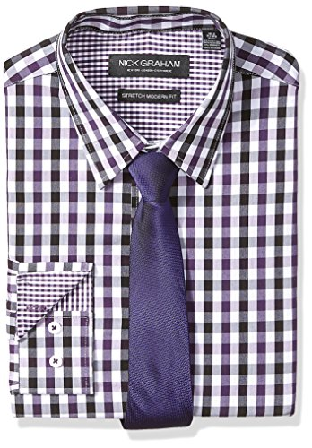 Nick Graham Men's Modern Fitted Multi Gingham Stretch Shirt with Solid tie, Purple XL-L 34/35
