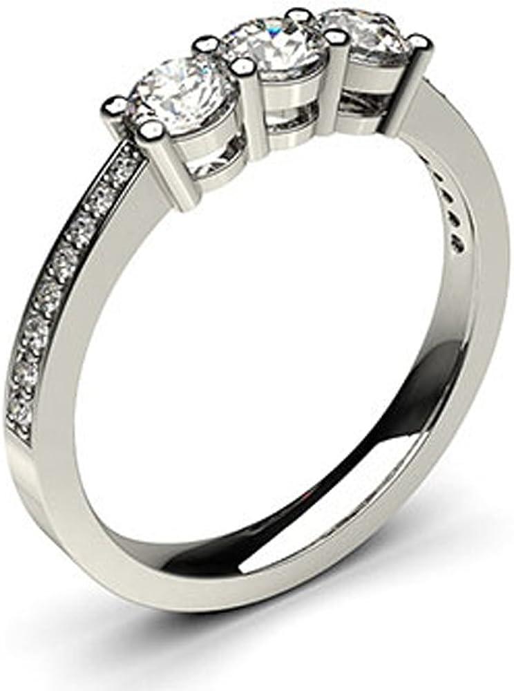 18K blanco oro 4Prong ajuste tres diamantes de boda anillo de tamaño–8,5