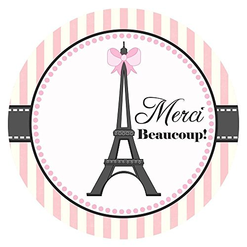 Paris Thank You Sticker Labels - Birthday Baby Shower Bridal Wedding Party Stickers - Set of 30