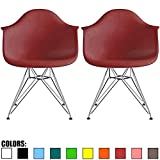 2xhome - Set of Two (2) Red - Eames Style Armchair Wire Legs Eiffel Dining Room Chair - Lounge Chair Arm Chair Arms Chairs Seats Wooden Wood Leg Wire Leg Dowel Leg Legged Base