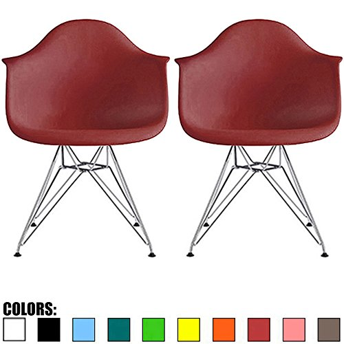 2xhome Set of 2 Maroon Mid Century Modern Vintage Designer Molded Shell Plastic Armchair With Arms Back Chrome Wire Metal Base Eiffel Dining Chairs Living Room Accent Dowel Office Guest Work Desk DAR