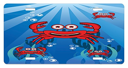 Ambesonne Crabs License Plate, A Group of Funny Crab Underwater with Smiling Happy Faces Bubbles Coral and Sun Rays, High Gloss Aluminum Novelty Plate, 5.88 L X 11.88 W Inches, Blue Red ()