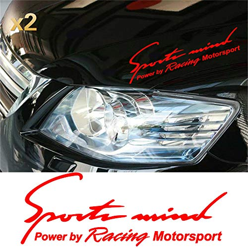 "Boilipoint 2Pcs Sports Mind, Power by Racing Motorsport, Decal, Vinyl Cut Sticker Car Styling 12.5""x4.5"""