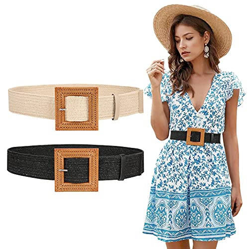 Women Straw Woven Elastic Belts, 2 Pack Wide Dress Boho Waist Belt Ladies Braided Stretch Belt with Square Buckle (Black+Beige)