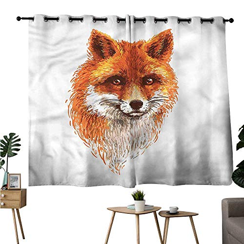 Diycon Decorative Curtains for Living Room Woodland Sketch Art Portrait Fox Durable W72 xL72 Suitable for Bedroom Living Room ()