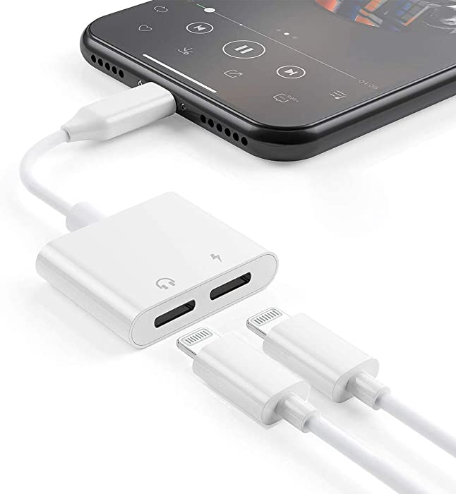 [Apple MFi Certified] 2 in 1 Dual Lightning iPhone Adapter & Splitter, Adapter Dual Converter Cable Headphone Music+Charge+Call+Volume Control Compatible for iPhone 12/11/XS/XR/X /8/7, iPad-iOS 13