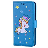 Samsung Galaxy S7 Edge Case, Ailisi [Rainbow Unicorn] Premium Leather Flip Wallet Phone Case Anti-Scratch Magnetic Protective Cover with TPU Inner, Card Slots, Folding Stand - Blue