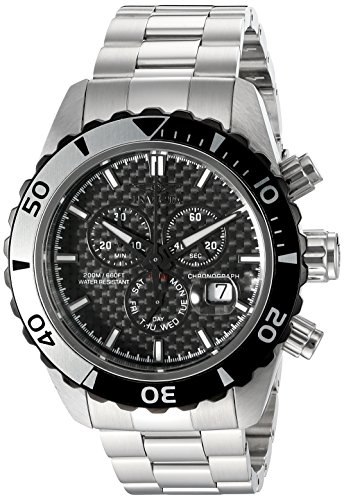 Invicta Men's 12860 Pro Diver Chronograph Black Carbon Fiber Dial Stainless Steel Watch