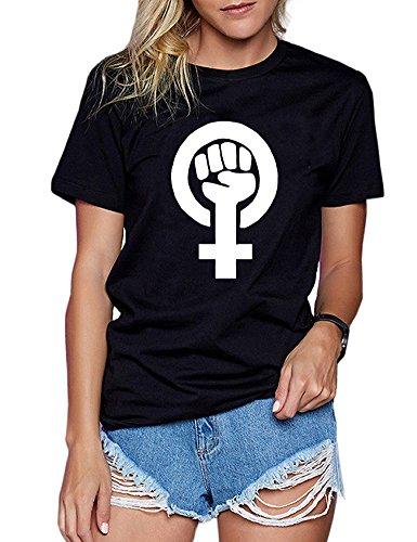 Wbecteam Fist Print Women's T-shirt Short Sleeve Crew Neck For Female (M, Black-2)