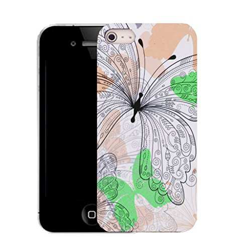 Mobile Case Mate IPhone 5 clip on Silicone Coque couverture case cover Pare-chocs + STYLET - soft butterfly pattern (SILICON)