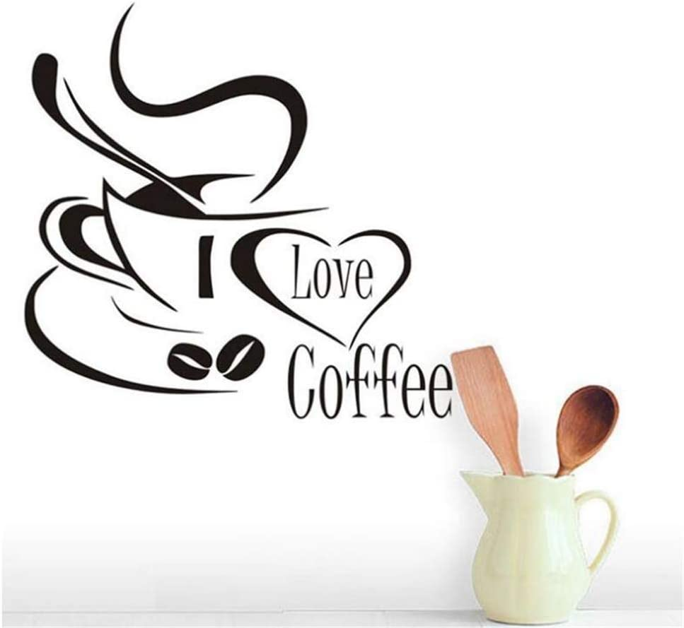 Wall Sticker I Love Coffee Decal Removable PVC Decoration Art Vinyl Decor for Home Kitchen Cafe