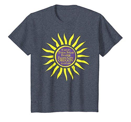 Kids Pacific City Oregon Total Solar Eclipse Sun Tee 10 Heather Blue