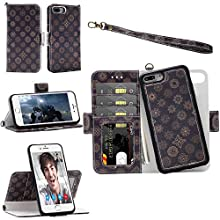 Samgg iPhone 8 Plus / 7 Plus / 6S Plus / 6 Plus Wallet Detachable Case with Wrist Strap, Magnetic Closure - Flip Folio Leather Case with Tempered Glass for Apple iPhone 8/7/6S/6 Plus (Mandala #1)