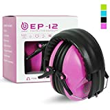 EAREST Noise Reduction Safety Ear muffs, NRR 20dB Professional Hearing Protection Folding-Padded Ear Cups Shooting Hunting Ear Muffs,Professional Hearing Protection with a Carrying Bag Fits Adults,Children - Rose Red