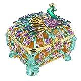 YUFENG Trinket Box Metal Enameled Collectable Wedding Jewelry Ring Holder Organizer (Peacock Box)