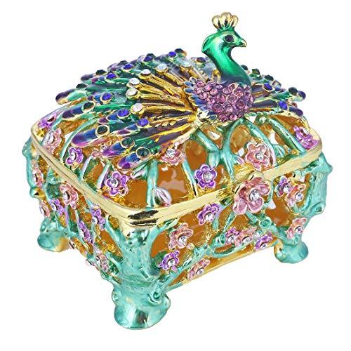(YUFENG Trinket Box Metal Enameled Collectable Wedding Jewelry Ring Holder Organizer (Peacock))