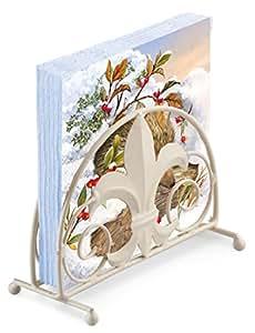 HEDGEHOG SNOW HOLLY WINTER CHRISTMAS 20 X 3 PLY PAPER NAPKINS & FLEUR DE LYS NAPKIN HOLDER SET