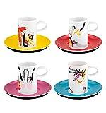 VISTA ALEGRE - Tchaikovsky (Ref # 21112533) Porcelain Set of 4 Espresso Coffee Cups & Saucers