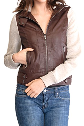 URBAN K WOMENS Moto Faux Leather Jacket with Inset Fleece Hoodie