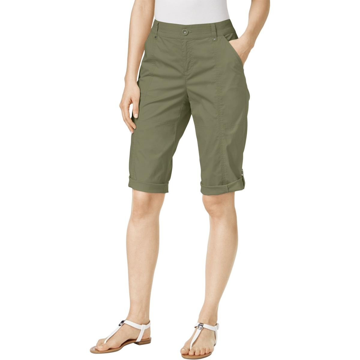 Style & Co.. Womens Petites Twill Cuffed Cargo Shorts Green 6P