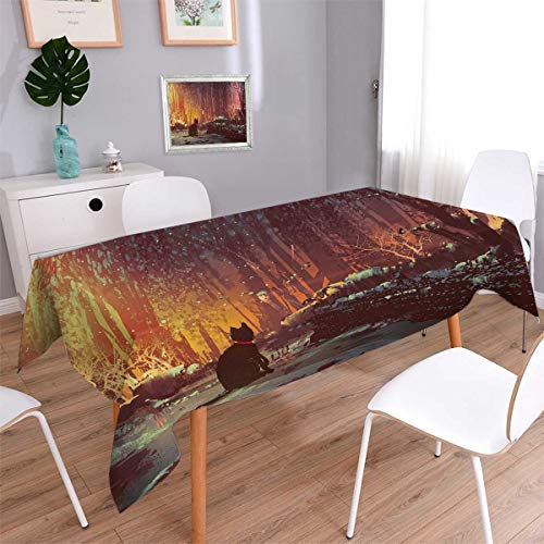 - Anmaseven Fantasy Square Dinning Tabletop Decor Surreal Lost Black Cat Deep Dark in Forest with Mystic Picture Artwork Print Table Cover for Kitchen Orange Brown Size: W36 x L36