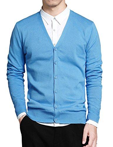 Gameyly Men's Cotton Button Cardigan Sweater XL Light Blue