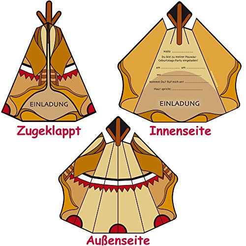6 Einladungskarten * INDIANER TIPI * Für Kindergeburtstag Und Party Von  DEKOSPASS // Kinder Geburtstag Party Kinderparty Indianerparty Einladung  Einladungen ...