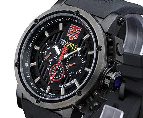 TechnoSport Men's 48mm Black Swiss Multifunction Quartz Silicone Strap Watch - TS-900-2