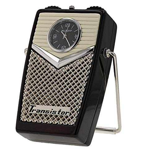 Miniature Novelty Collectors Vintage Transistor Radio Clock with A Stand 9653