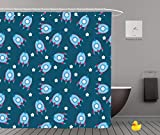 Shower Curtains 2.0 by iPrint,Pe9298_Seamless Blue Boyish Wallpaper,Bathroom Accessories,Waterproof Bathroom Shower Curtain Set with Hooks,Updated version,Durable,Stylish,Decorative,Unique,Cool,Fun,Fu