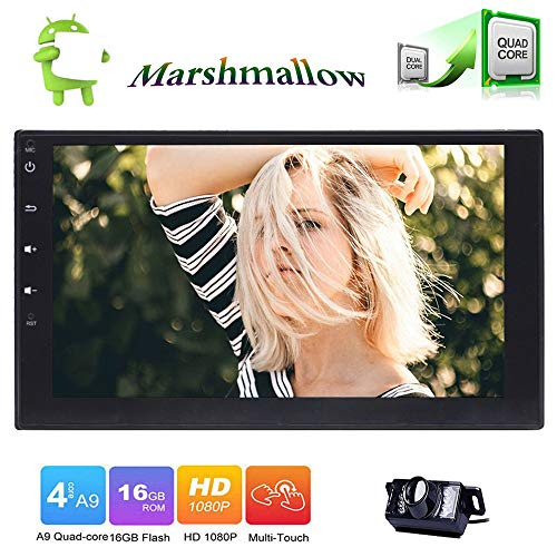 7'' Double Din Car Stereo with Android 6.0 Quad Core 1GB 16GB in Dash GPS Navigation Auto FM AM Radio Support Bluetooth WiFi OBD2 Steering Wheel Control Backup Camera