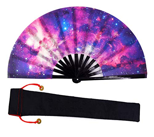 Amajiji Large Galaxy Hand Fans, Chinease/Japanese Nylon-Cloth Hand Folding Fans for Women/Men, Fabric Case for Protection, Festival Gift Fan Craft Fan Folding Fan Dance Fan (AM6) (Art Martial Protection Ninja)