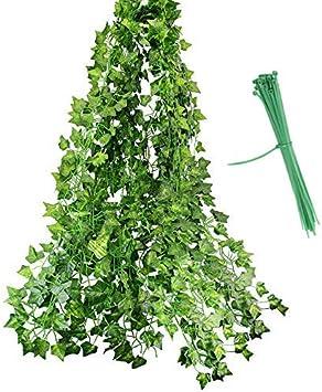 PERFETSELL 84 Ft-12 Pack Enredadera Artificial 2m Plantas Artificiales Decorativas Planta Artificial Colgante Hiedra Artificial Exterior Decoracion para Exterior Interior Balcon Pared Boda Guirnalda