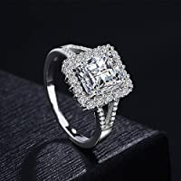 Saengthong 5ct Princess Cut Diamonique Cz Wedding Ring Womens 925 Silver Jewelry Size 5-10 (6)