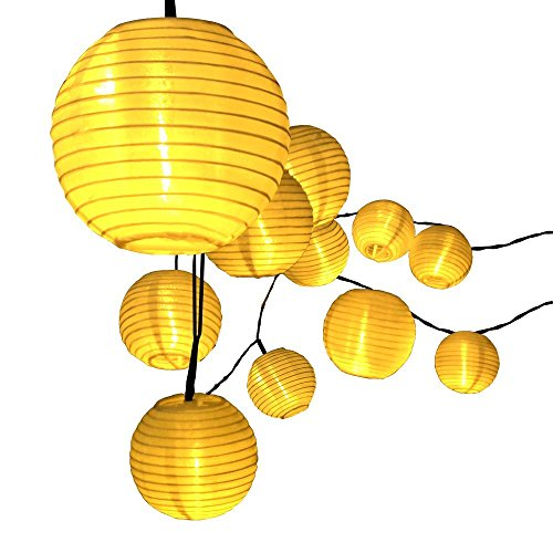 String Lights With Fabric : Solar String Lights,Raykey 20 LED Warm White Fabric Lantern - Import It All