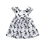 ❤️Baby Dress,Hot New Fashion 2018 Neartime Cute Beautiful Newborn Baby Girls Infant Toddle Dinosaur Bow Cartoon Sleeveless Clothes Princess Dress (0-6M, White) Reviews