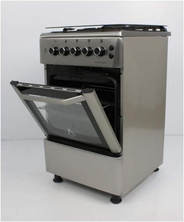 Encendido autom/ático **Alta Gama** ALPHA Cocina de Gas VULCANO 3D-50 Inox corte de gas seguro y temporizador en horno