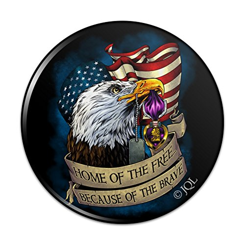 Home of the Free Because of the Brave Purple Heart Eagle American Flag Pinback Button Pin Badge - 2.25