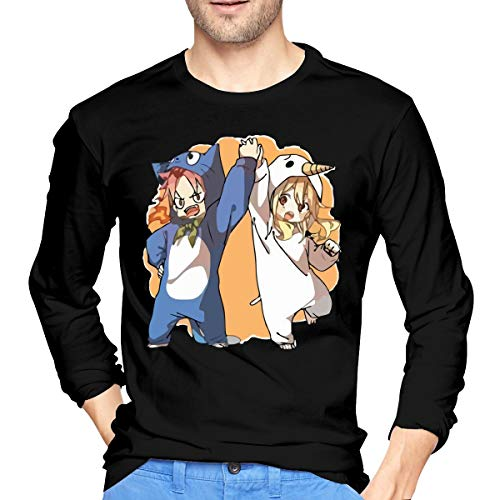 Mans Natsu and Lucy Fairy Tail Funny Anime Tee Shirt Black]()