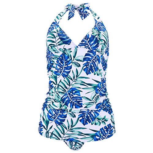 Halter Print Tankini (UTTU TRIANGLE Halter Leaf Print Tankini Set, Ruched Two Piece Swimsuit For Women(Printing-L))