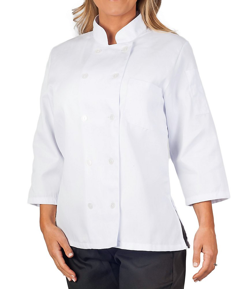 Womens White Classic ¾ Sleeve Chef Coat, 2XL by KNG