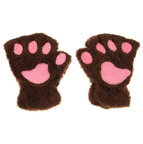 Price comparison product image APAS Women Winter Fluffy Bear Cat Plush Paw Claw Glove Half Finger Cute Gloves Mittens Coffee