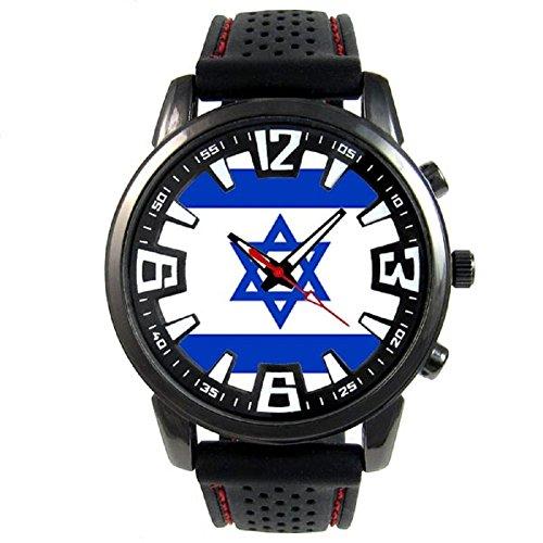 (Timest - Israel Country Flag - Mens Black Jelly Silicone Wrist Watch Round Analog Quartz SF110)