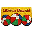 Entryways Non Slip Coir Doormat, 17-Inch by 28-Inch, Life's a Beach