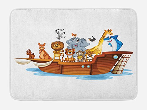 Ambesonne Religious Bath Mat, Illustration of Many Animals Sailing in the Boat Mythical Journey Faith Giraffe, Plush Bathroom Decor Mat with Non Slip Backing, 29.5 W X 17.5 W Inches, Multicolor by Ambesonne